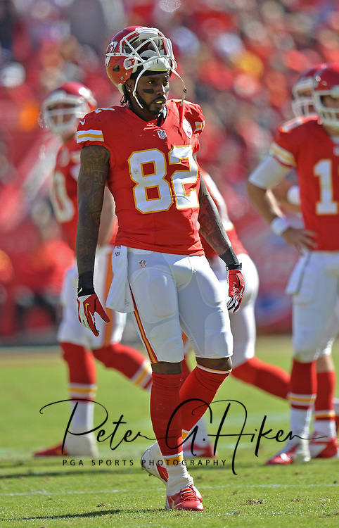 KANSAS CITY, MO - OCTOBER 27:  Wide receiver Dwayne Bowe #82 of the Kansas City Chiefs looks on against the Cleveland Browns during the first half on October 27, 2013 at Arrowhead Stadium in Kansas City, Missouri.  (Photo by Peter G. Aiken/Getty Images) *** Local Caption *** Dwayne Bowe