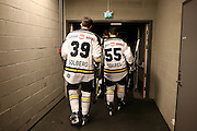 Joshua Soares and Henrik Solberg of Stavanger Oilers before the game v Lillehammer at DNB Arena, Stavanger , Norway on 22 September 2016. Photo by Andrew Halseid-Budd.