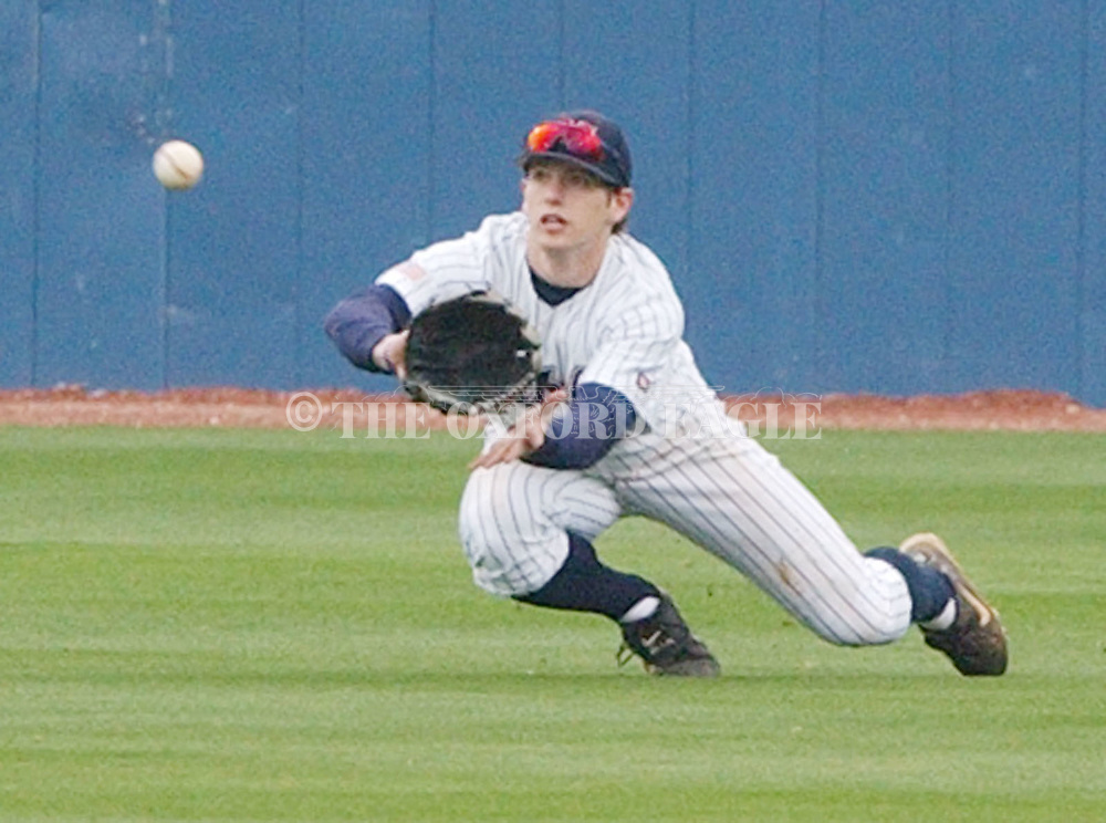 Mississippi's centerfielder Alex Presley makes a catch against Florida at Oxford-University Stadium in Oxford, Miss. Saturday, March 19, 2005. (AP Photo/Bruce Newman,Oxford Eagle)