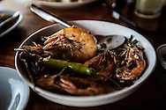 Lunch of sauteed shrimp with green pepper at Casa Rosa Hotel and Restaurant.  Tay Tay, Palawan, Philippines.