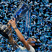19.11.2017 Nitto ATP World Tour Finals at O2 Arena London UK FINAL Gregor Dimitrov BUL  v David Goffin BEL Dimitrov with the Champions cup after winning the match in 3 sets
