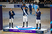 Podium world cup final 1. Steve Guerdat and Alamo, 2. Martin Fuchs and Clooney 51, 3. Peder Fredricson and Catch me not S<br /> FEI World Cup Final Gothenburg 2019<br /> © DigiShots