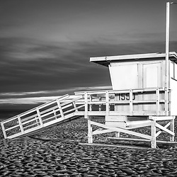 Santa Monica California lifeguard tower 1550 at night in black and white. Photo is horizontal and high resolution. Copyright ⓒ 2017 Paul Velgos with All Rights Reserved.