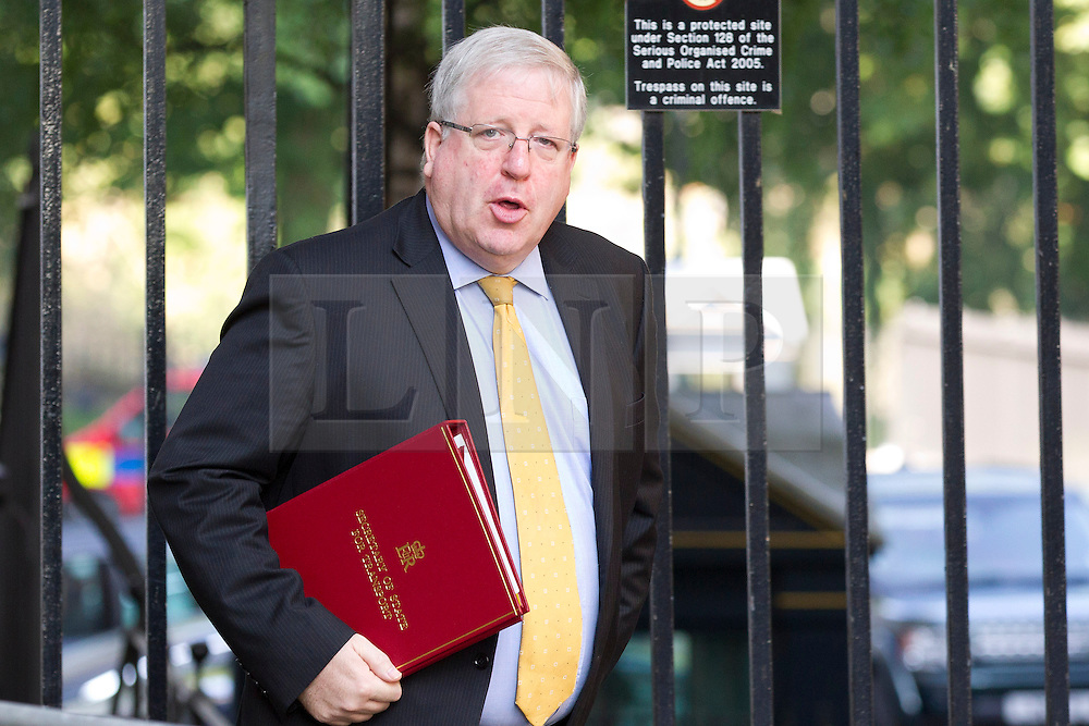 """© Licensed to London News Pictures. 29/08/2013. London, UK. Transport Secretary Patrick McLoughlin arrives for a meeting of the British cabinet on Downing Street in London today (29/08/2013) as a recalled British Parliament prepares to debate the possibility of """"direct"""" military action over recent reports an alleged chemical weapons attack in Syria. Photo credit: Matt Cetti-Roberts/LNP"""