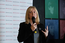 © Licensed to London News Pictures . 23/09/2018. Liverpool, UK. ROSIE DUFFIELD MP speaks at a rally by The Jewish Labour Movement at The Liverpool Pub in central Liverpool during the first day of the 2018 Labour Party Conference . Photo credit: Joel Goodman/LNP