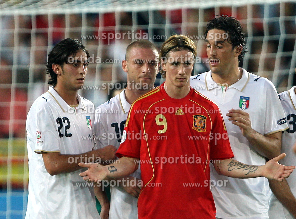 Fernando Torres of Spain (9) infront of Italian block during the UEFA EURO 2008 Quarter-Final soccer match between Spain and Italy at Ernst-Happel Stadium, on June 22,2008, in Wien, Austria. Spain won after penalty shots 4:2. (Photo by Vid Ponikvar / Sportal Images)