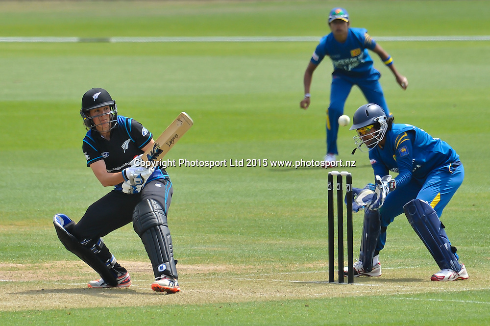 Sara McGlashan of New Zealand hits the ball during the 3rd ODI cricket match, White Ferns V Sri Lanka, at the Bert Sutcliffe Oval, Lincoln, New Zealand. 7rd November 2015. Copyright Photo: John Davidson / www.photosport.nz