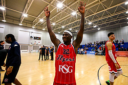 Jalan McCloud of Bristol Flyers celebrates victory over Cheshire Phoenix - Photo mandatory by-line: Robbie Stephenson/JMP - 31/03/2019 - BASKETBALL - Cheshire Oaks Arena - Ellesmere Port, England - Cheshire Phoenix v Bristol Flyers - British Basketball League Championship