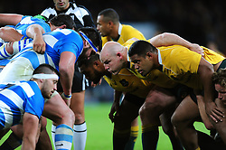 Stephen Moore and the rest of the Australia front row prepare to scrummage - Mandatory byline: Patrick Khachfe/JMP - 07966 386802 - 08/10/2016 - RUGBY UNION - Twickenham Stadium - London, England - Argentina v Australia - The Rugby Championship.