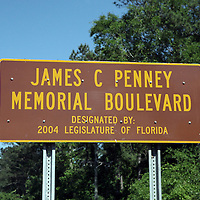James C. Penney Boulevard signage along the William Bartram Scenic Highway in Florida.(AP Photo/Alex Menendez) Florida scenic highway photos from the State of Florida. Florida scenic images of the Sunshine State.