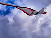 01 AUGUST 2017 - UBUD, BALI, INDONESIA: A janggan (bird shaped) kite over the public school soccer field in Ubud. The tale behind the kite was about 100 meters long. Kite flying is a popular past time on Bali. It originally had religious connotations, it was used to ask the gods for bountiful rains and harvests. The kites are large. Small ones, flown by individuals are about two meters long, larger ones flown by teams of up to 80 people are ten meters long. There are three shapes of traditional kites, bebean (fish-shaped), janggan (bird-shaped) and pecukan (leaf-shaped). The pecukan is the most unstable and difficult to fly.    PHOTO BY JACK KURTZ