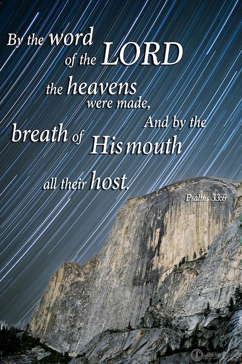 stars streek accross sky over Half Dome in Yosemite N.P.