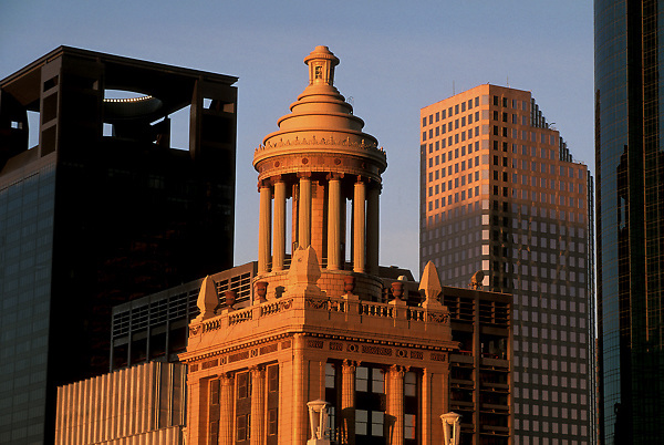 Stock photo of architectural details of the Niels Esperson Building and Reliant Energy Plaza