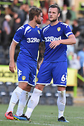 Leeds United's Liam Cooper(6) and Leeds United's Gaetano Berardi(28) during the Pre-Season Friendly match between Forest Green Rovers and Leeds United at the New Lawn, Forest Green, United Kingdom on 17 July 2018. Picture by Alan Franklin.