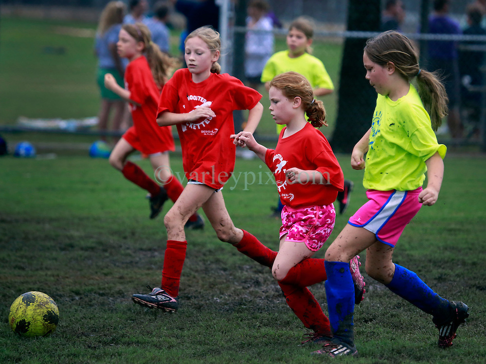21 September 2013. Carrolton Boosters Soccer. New Orleans, Louisiana. <br /> U10 soccer action. Booster Rockettes V Express Soccer.<br /> Photo; Charlie Varley