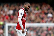 Alexandre Lacazette of Arsenal looks frustrated. Premier league match, Arsenal v Swansea city at the Emirates Stadium in London on Saturday 28th October 2017.<br /> pic by Steffan Bowen, Andrew Orchard sports photography.