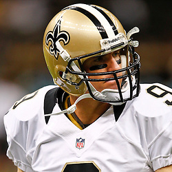August 17, 2012; New Orleans, LA, USA; New Orleans Saints quarterback Drew Brees (9) prior to kickoff of a preseason game against the Jacksonville Jaguars at the Mercedes-Benz Superdome. Mandatory Credit: Derick E. Hingle-US PRESSWIRE