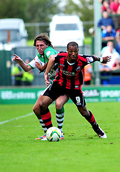 Bournemouth's Wes Thomas holds of Yeovil Town's Luke Ayling  - Photo mandatory by-line: Dougie Allward/Josephmeredith.com  - Tel: Mobile:07966 386802 08/09/2012 - SPORT - FOOTBALL - League 1 -  Yeovil  - Huish Park -  Yeovil Town v AFC Bournemouth