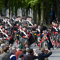 Atholl Highlanders Parade, Blair Castle, 24.5.2008.<br /> The Atholl Highlanders and pipe band march onto the parade ground in front of Bair Castle through the crowds gathered to watch the event.<br /> <br /> Picture by John Lindsay<br /> COPYRIGHT: Perthshire Picture Agency.<br /> Tel. 01738 623350 / 07775 852112.