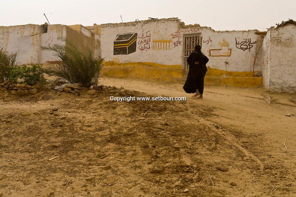 Egypt . Nile river valley -Naga nubian village. sand wind  Naga  Egypt  - on the nile river near aswan  /  Village nubien de Naga. tempete de sable   pres de assouan Egypte