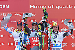 27.10.2013, Rettenbachferner, Soelden, AUT, FIS Weltcup, Ski Alpin, Riesenslalom, Herren, Podium, im Bild Alexis Pinturault from France (L) 2nd placed racer Ted Ligety from The USA race winner (C) and Marcel Hirscher from Austria (R) 3rd placed racer // Alexis Pinturault from France (L) 2nd placed racer Ted Ligety from The USA race winner (C) and Marcel Hirscher from Austria (R) 3rd placed raceron podium of mens Giant Slalom of the FIS Ski Alpine Worldcup opening at the Rettenbachferner in Soelden, Austria on 2012/10/27. EXPA Pictures © 2013, PhotoCredit: EXPA/ Mitchell Gunn<br /> <br /> *****ATTENTION - OUT of GBR*****