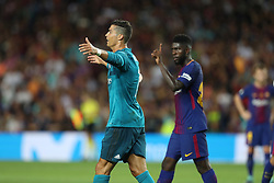 August 13, 2017 - Barcelona, Spain - Cristiano Ronaldo of Real Madrid walks from the ground after he was given a red card during the Spanish Super Cup football match between FC Barcelona and Real Madrid on August 13, 2017 at Camp Nou stadium in Barcelona, Spain. (Credit Image: © Manuel Blondeau via ZUMA Wire)