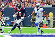 HOUSTON, TX - OCTOBER 30: Houston Texans Wide Receiver DeAndre Hopkins (10) makes a moderate run after catch as Detroit Lions Cornerback Nevin Lawson (24) defends during the NFL football game between the Detroit Lions and Houston Texans on October 30, 2016 at NRG Stadium in Houston, TX. (Photo by Ken Murray/Icon Sportswire)