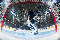 PENTICTON, CANADA - SEPTEMBER 9: Jamie Phillips #50 of Winnipeg Jets stands in net at the start of second period against the # of Edmonton Oilers on September 9, 2017 at the South Okanagan Event Centre in Penticton, British Columbia, Canada.  (Photo by Marissa Baecker/Shoot the Breeze)  *** Local Caption ***