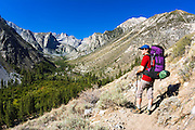 Backpacker on the North Fork of Big Pine Creek, Inyo National Forest, California