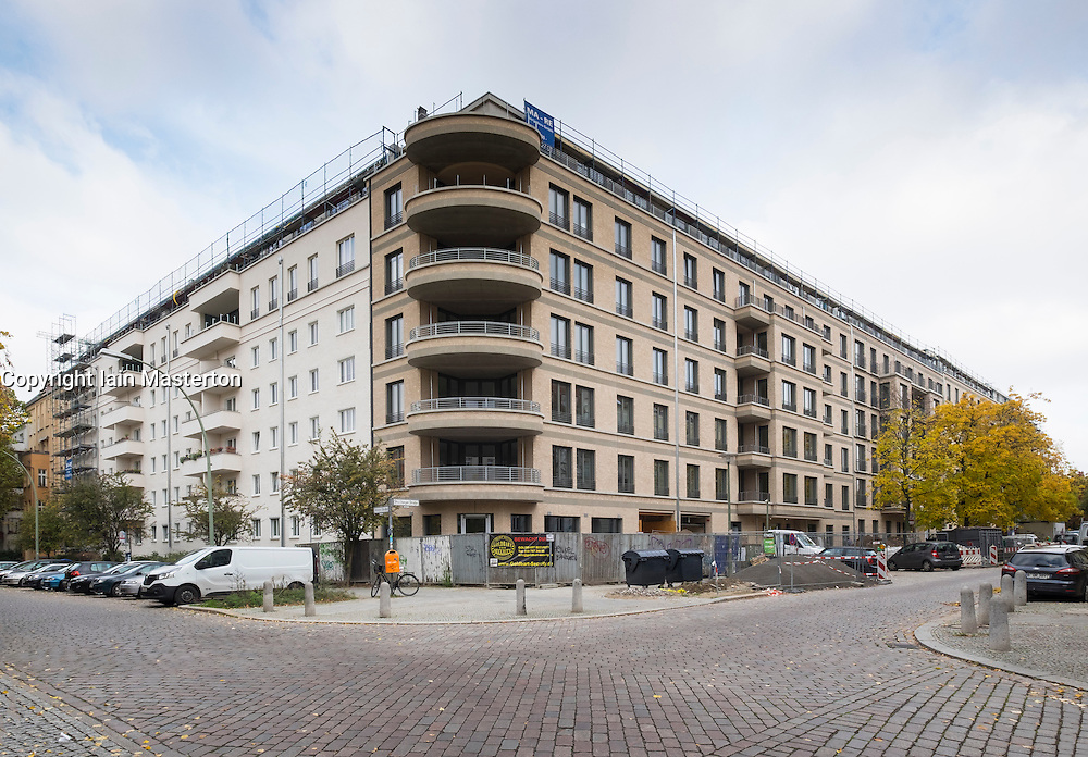 Modern luxury apartment building under construction at Metzer Strasse in Prenzlauer Berg part of gentrification of area in Berlin Germany