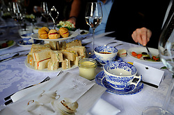 Detail of the afternoon tea and Nourish leaflet, as guests attend A Very Special Afternoon Tea with nutritionist Jane Clarke to launch Nourish website and community, which is dedicated to helping people with cancer and dementia through the power of good food and expert support, at the Royal Hospital Chelsea in London.