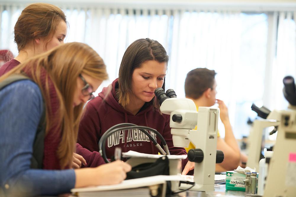 Activity; Lab; Buildings; Cowley; Fall; November; Location; Inside; Classroom; Objects; Microscope; People; Student Students; Type of Photography; Candid; UWL UW-L UW-La Crosse University of Wisconsin-La Crosse