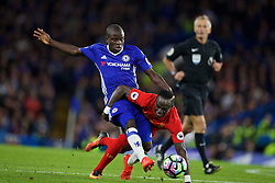 LONDON, ENGLAND - Friday, September 16, 2016: Liverpool's Sadio Mane in action against Chelsea's N'Golo Kante during the FA Premier League match at Stamford Bridge. (Pic by David Rawcliffe/Propaganda)