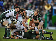Twickenham, GREAT BRITAIN, Exiles, Paul HODGSON spins the ball out from the ruck, during the Guinness Premiership match,  London Irish vs Newcastle Falcon at the Madjeski  Stadium, Reading. on Sat )3.01.2009. [Photo, Peter Spurrier/Intersport-images]