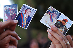 Supporters of Presidetn Chavez gather in the Miraflores Presidential Palace to celebrate the 5th anniversary of Chavez's inauguration as Venezuela's President.