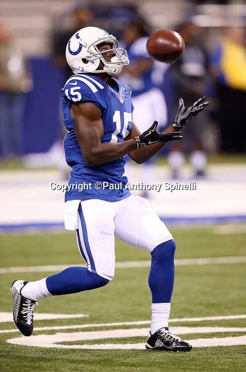Indianapolis Colts wide receiver Phillip Dorsett (15) catches a punt during the 2015 NFL week 2 regular season football game against the New York Jets on Monday, Sept. 21, 2015 in Indianapolis. The Jets won the game 20-7. (©Paul Anthony Spinelli)