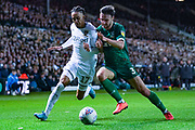 Leeds United forward Helder Costa (17) and Sheffield Wednesday defender Morgan Fox (3) during the EFL Sky Bet Championship match between Leeds United and Sheffield Wednesday at Elland Road, Leeds, England on 11 January 2020.