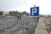 03/01/2014.   Car park destroyed   in An Spideal  Galway  destroyed by the storms . Photo:Andrew Downes.