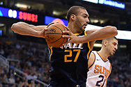 Oct 25, 2017; Phoenix, AZ, USA; Utah Jazz center Rudy Gobert (27) boxes out in in the first half of the game against the Phoenix Suns at Talking Stick Resort Arena. Mandatory Credit: Jennifer Stewart-USA TODAY Sports