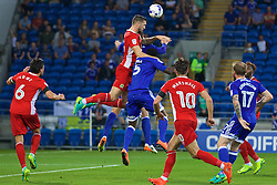 CARDIFF, WALES - Wednesday, August 17, 2016: Blackburn Rovers' Shane Duffy heads the ball into his own-goal, his second of the game, to give Cardiff City a 2-0 lead during the Football League Championship match at Cardiff City Stadium. (Pic by David Rawcliffe/Propaganda)