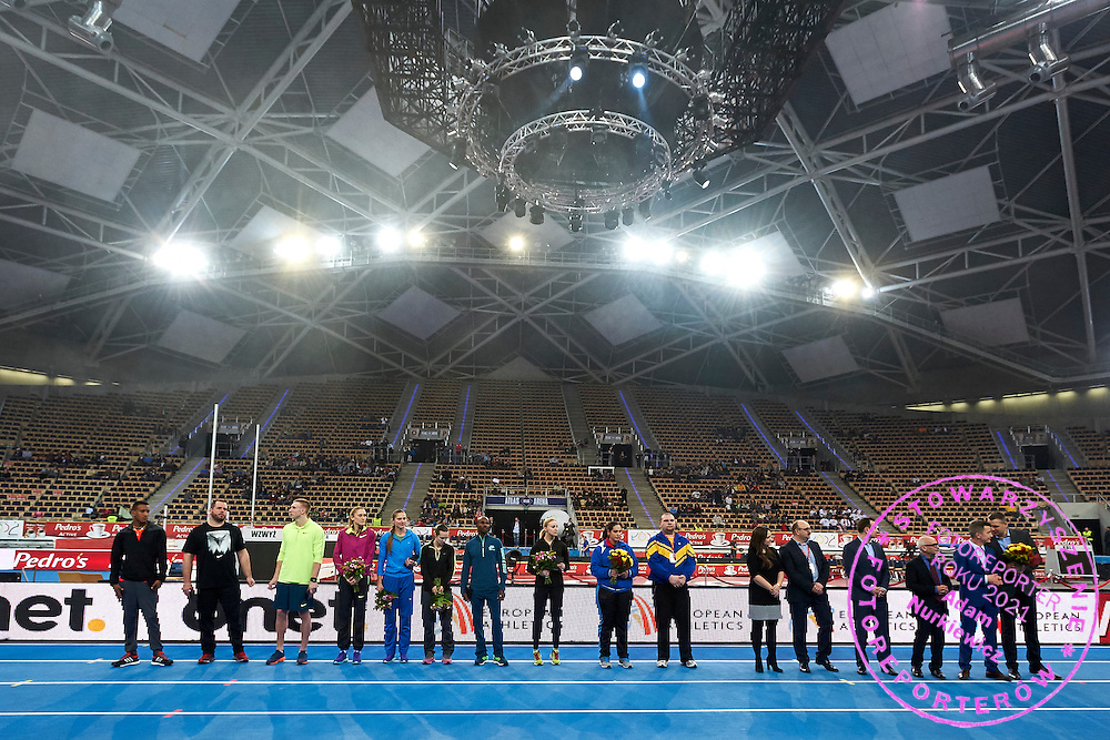 (2R) Krzysztof Klimczak President Board of Strauss Cafe Poland while medal ceremony during athletics meeting Pedro's Cup at Atlas Arena in Lodz, Poland.<br /> <br /> Poland, Lodz, February 17, 2015<br /> <br /> Picture also available in RAW (NEF) or TIFF format on special request.<br /> <br /> For editorial use only. Any commercial or promotional use requires permission.<br /> <br /> Adam Nurkiewicz declares that he has no rights to the image of people at the photographs of his authorship.<br /> <br /> Mandatory credit:<br /> Photo by &copy; Adam Nurkiewicz / Mediasport