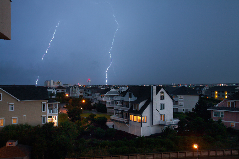 Lighting bolts cross the sky above Wrightsville Beach, NC...