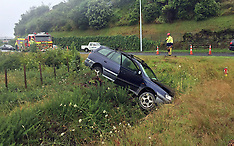 Tauranga-Wet road conditions puts car in ditch