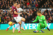 Derby County forward Jack Marriott (14) shoots at goal but his shot is saved by Aston Villa goalkeeper Orjan Nyland (1)   during the EFL Sky Bet Championship match between Derby County and Aston Villa at the Pride Park, Derby, England on 10 November 2018.