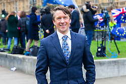 Satirical 'broadcaster' Jonathan Pie whose acerbic rants on YouTube have awarded him an enormous following is spotted in the media camp on College Green, outside the Houses of Parliament in London. London, January 16 2019.