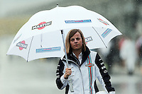 Susie Wolff (GBR) Williams Development Driver in a wet and rainy paddock.<br /> Japanese Grand Prix, Sunday 5th October 2014. Suzuka, Japan.