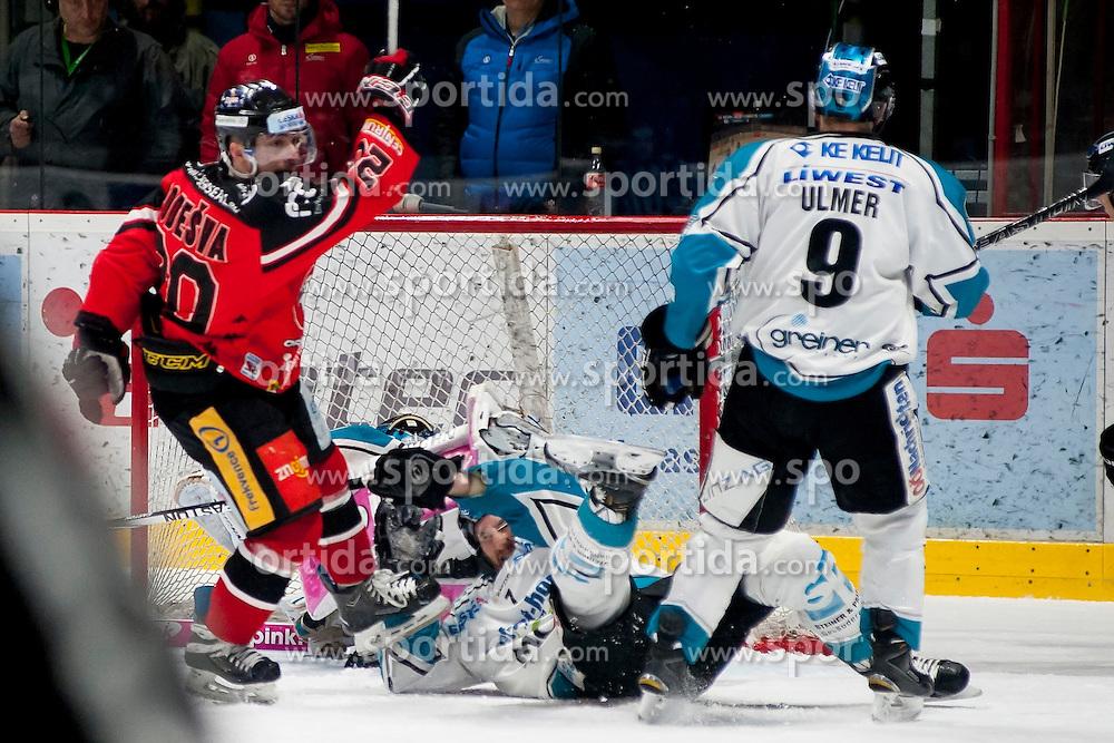 22.03.2016, Ice Rink, Znojmo, CZE, EBEL, HC Orli Znojmo vs EHC Liwest Black Wings Linz, Halbfinale, 5. Spiel, im Bild v.l. Martin Podesva (HC Orli Znojmo), Michael Ouzas (Linz), Brett Palin (Linz), Jason Ulmer (Linz) // during the Erste Bank Icehockey League 5th semifinal match between HC Orli Znojmo and EHC Liwest Black Wings Linz at the Ice Rink in Znojmo, Czech Republic on 2016/03/22. EXPA Pictures © 2016, PhotoCredit: EXPA/ Rostislav Pfeffer