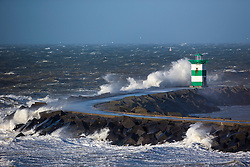 A November storm Force 7 with gusts up to force 9 (30 to 45 knots) results in  spectacular waves on the the Dutch Coast. Scheveningen, The Netherlands,  25 November, 2012