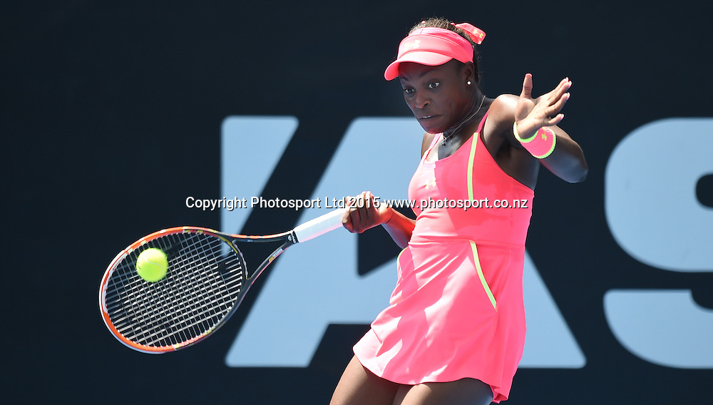 USA's Sloane Stephens in action during her first round singles match on Day 1 at the ASB Classic WTA International. Auckland, New Zealand. Monday 5 January 2015. Copyright photo: Andrew Cornaga/www.photosport.co.nz