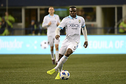 October 8, 2018 - Seattle, Washington, U.S - Seattle's NOUHOU (5) pushes the ball down field as the Houston Dynamo visits the Seattle Sounders in a MLS match at Century Link Field in Seattle, WA. (Credit Image: © Jeff Halstead/ZUMA Wire)